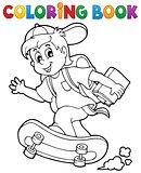 Coloring book school boy theme 1