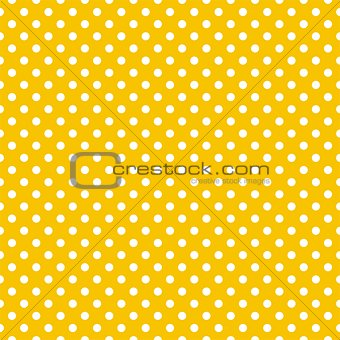 Tile vector summer pattern with white polka dots on sunny yellow background