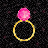 Golden Ring with Pink Jewelery Stone
