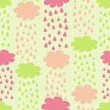 Cartoon Seamless Pattern with Rainy Clouds