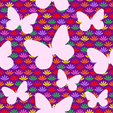 Seamless Pattern with Flowers and Butterfly Silhouette