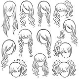 Set of teenage girl hairstyles