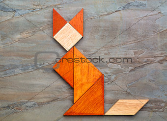 cat figure - tangram abstract