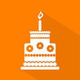 Birthday cake icon, vector