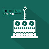 Birthday cake icon, vector