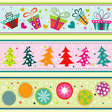 Template Christmas greeting card, ribbon, vector
