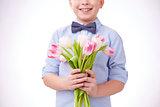 Holding tulips