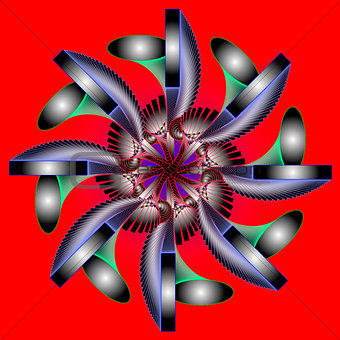 Abstract color composition with openwork elements  on red backgr