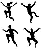 Four jumping people