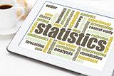 statistics word cloud on tablet