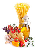 Still life with pasta ingredients isolated on white