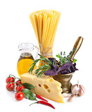 Italian pasta ingredients isolated on white