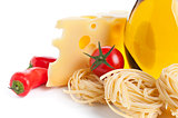 Ingredients for pasta tagliatelle preparing on white
