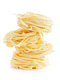 italian tagliatelle isolated on white