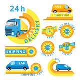 Vector logo set of delivery cars and labels