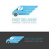 Vector logo of fast delivery van