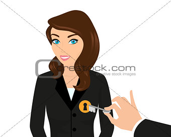 Business woman and managers hand holding a key