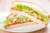 club sandwich with salmon, cheese, lettuce