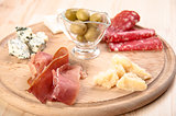 Italian antipasto with ham, olive, cheese, and salami