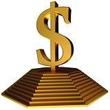 golden pyramid and gold dollar symbol