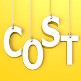 Cost word in orange background
