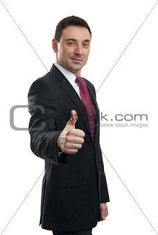 portrait of businessman thumbing up