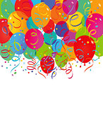 Balloons and confetti on a white background