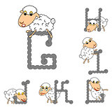 Design ABC with funny cartoon sheep. Letters from G to L