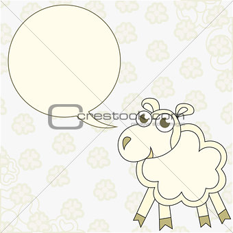 Cartoon sheep congratulates