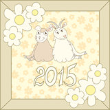 Retro card with cartoon sheep and goat for Christmas and New Year 2015