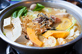 japanese and asian cuisine. hot pot on background
