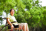 Asian senior woman sitting on a wheelchai in the park