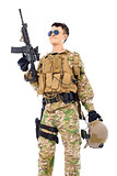 Soldier raising up rifle or sniper with white background