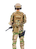 back view of soldier with rifle or sniper over white background