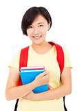 pretty student girl standing over white background