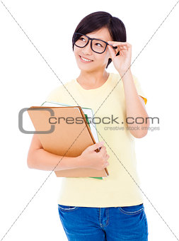 smiling  young student girl standing and holding document