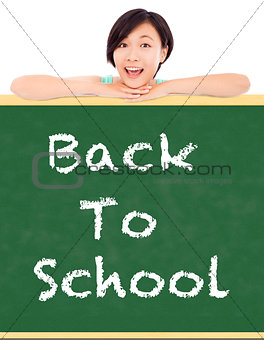 Back to school, young student girl with blackboard