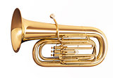Golden tuba isolated on white background