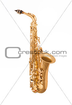 Alto saxophone in soft light