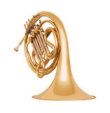 Golden french horn in soft light