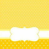 Sunny card or invitation with yellow background, white polka dots