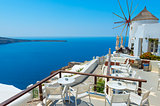 Windmill And Beautiful View In Santorini