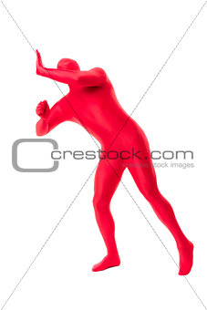 man in a red body suit