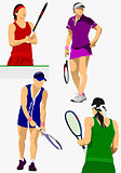 Collection of woman tennis players. Colored Vector illustration