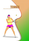 Woman tennis player.Vector illustration