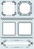 Collection of vector frames and ornaments with sample text.