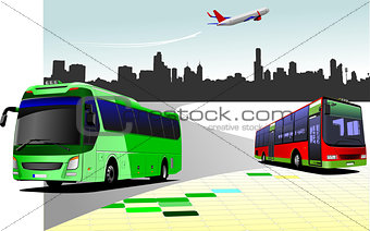 City panorama with two buses and plane images. Coach. Vector ill