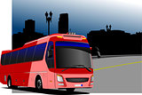City panorama with tourist bus image. Coach. Vector illustration