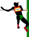 Woman high jumping. Track and field. Vector illustration