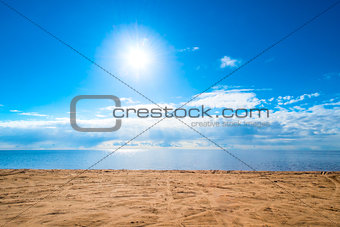 beautiful seascape - blue sky and light clouds